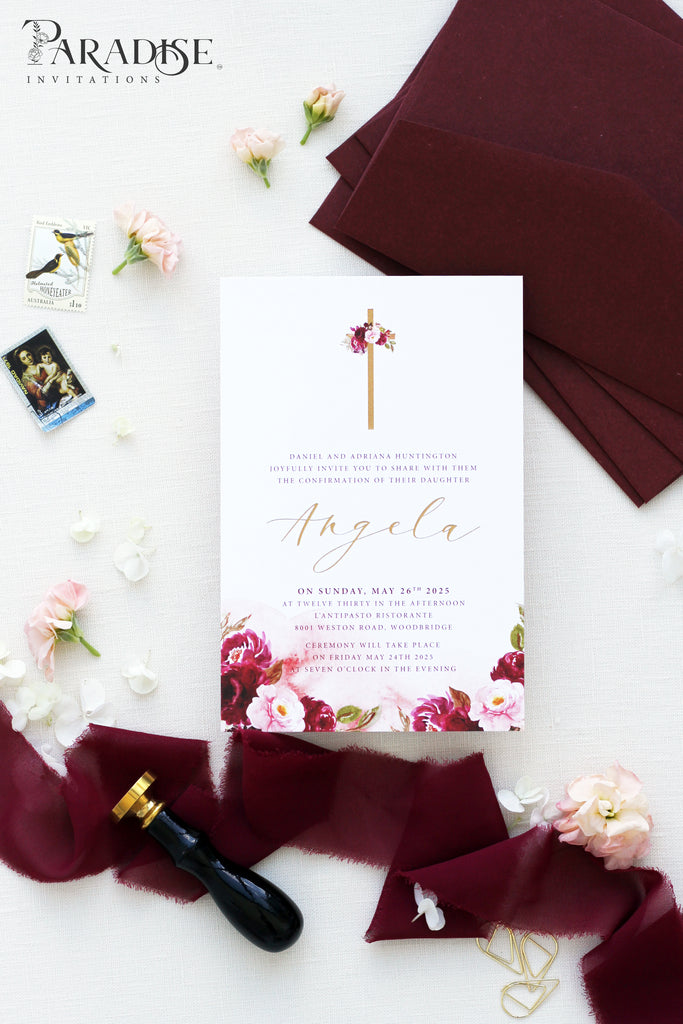 Lili Burgundy Christian Invitation