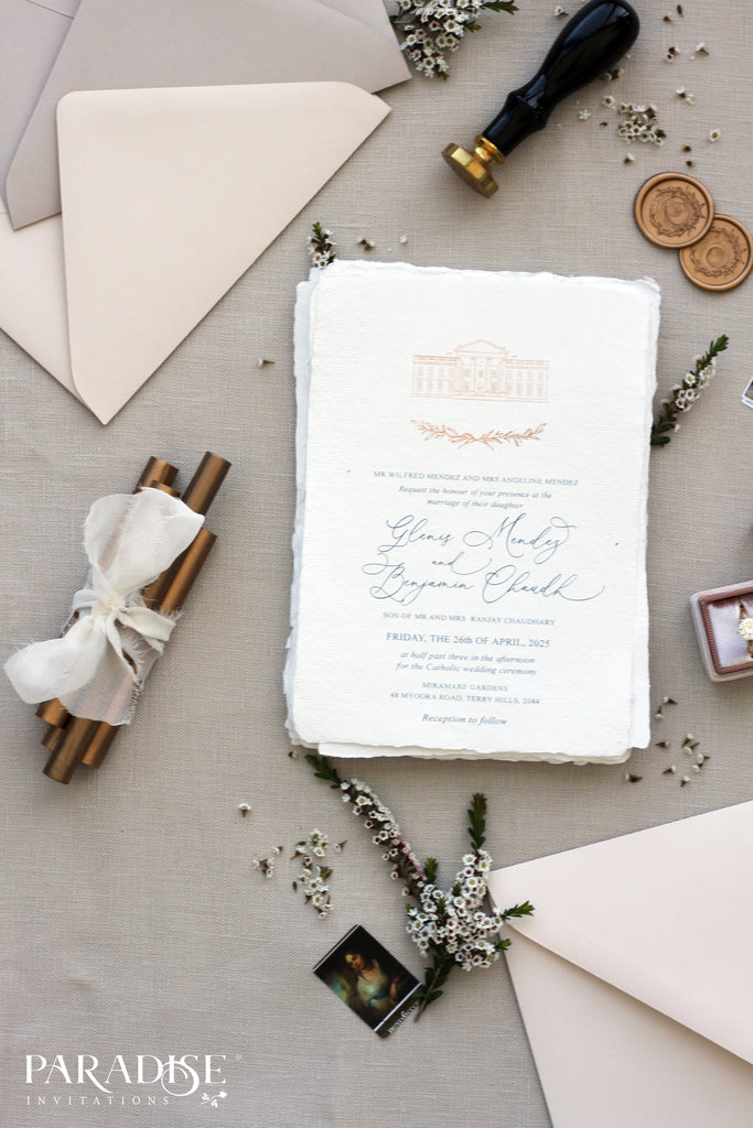 Adeline Handmade Paper Wedding Invitation