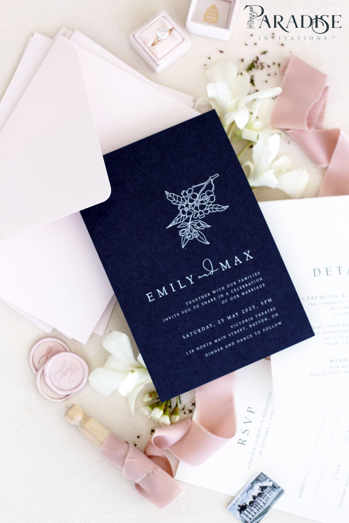 Aubree Navy Wedding Invitation Sets
