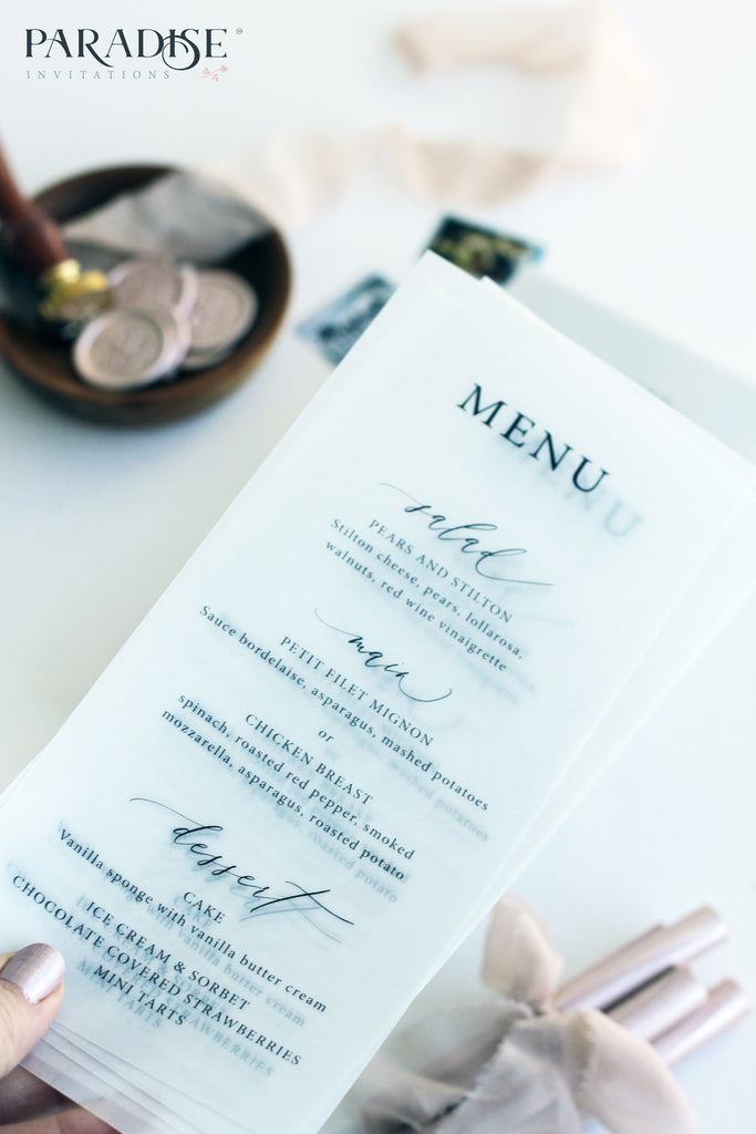 Clotilde Vellum Wedding Menu