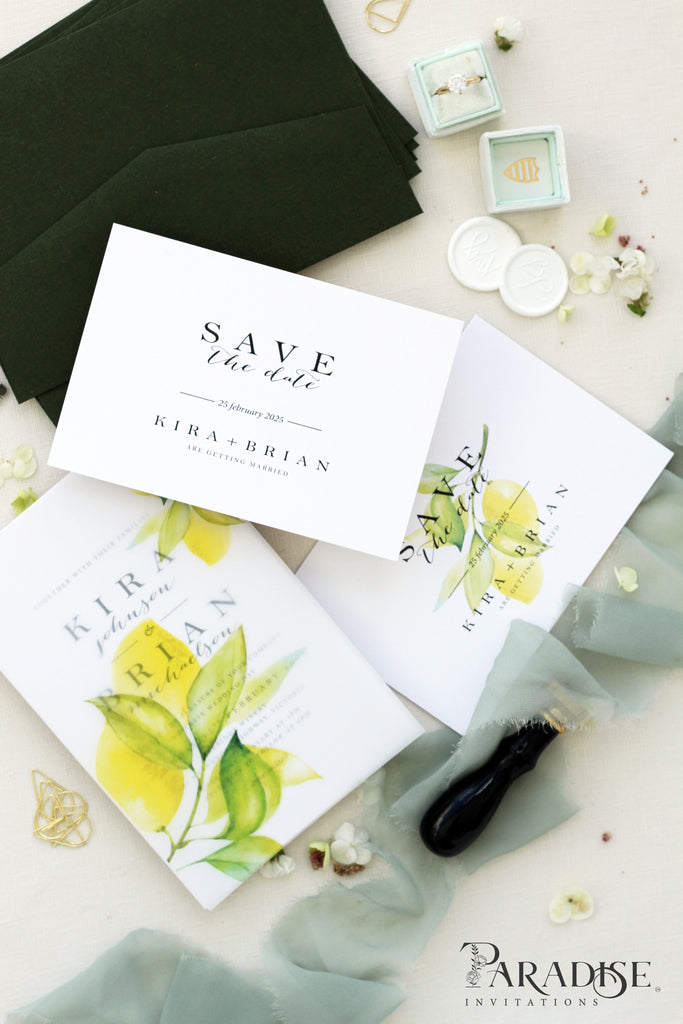 Romaine Watercolor Save the Date Cards