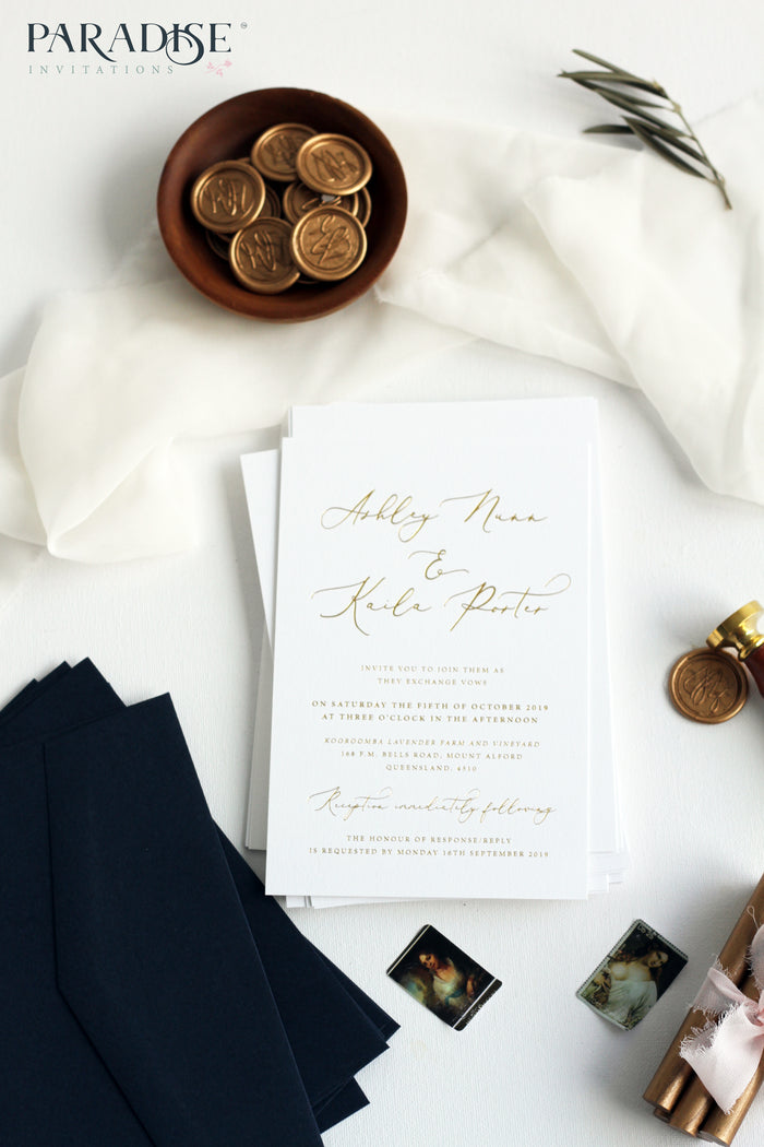Vivian Golden Foil and Letterpress Wedding Invitation