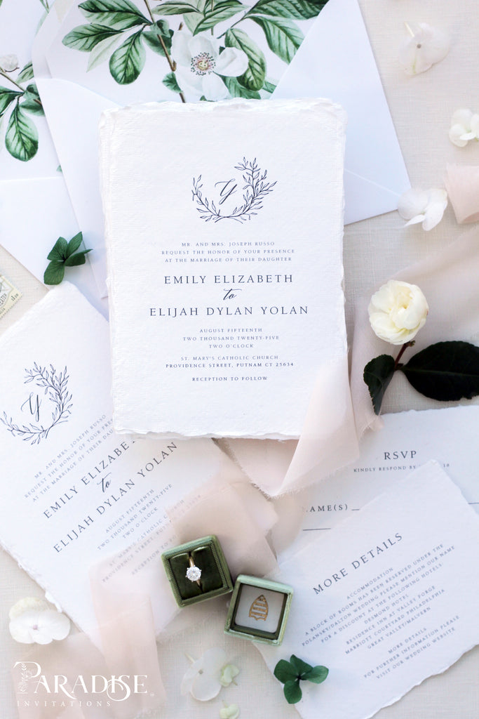 Chanelle Handmade Paper Wedding Invitation Sets