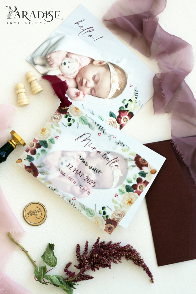 Mae Birth announcements, Digital or Printed Baby Announcement, Thank you Baby Cards