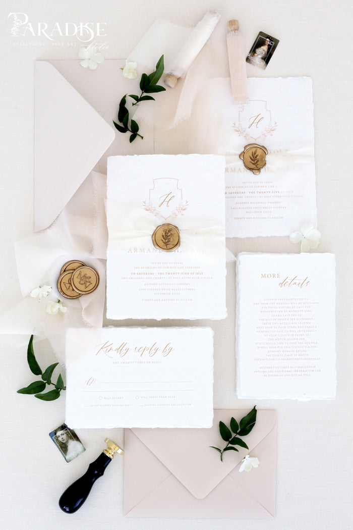 Aphrodite Handmade Paper Wedding Invitation Sets
