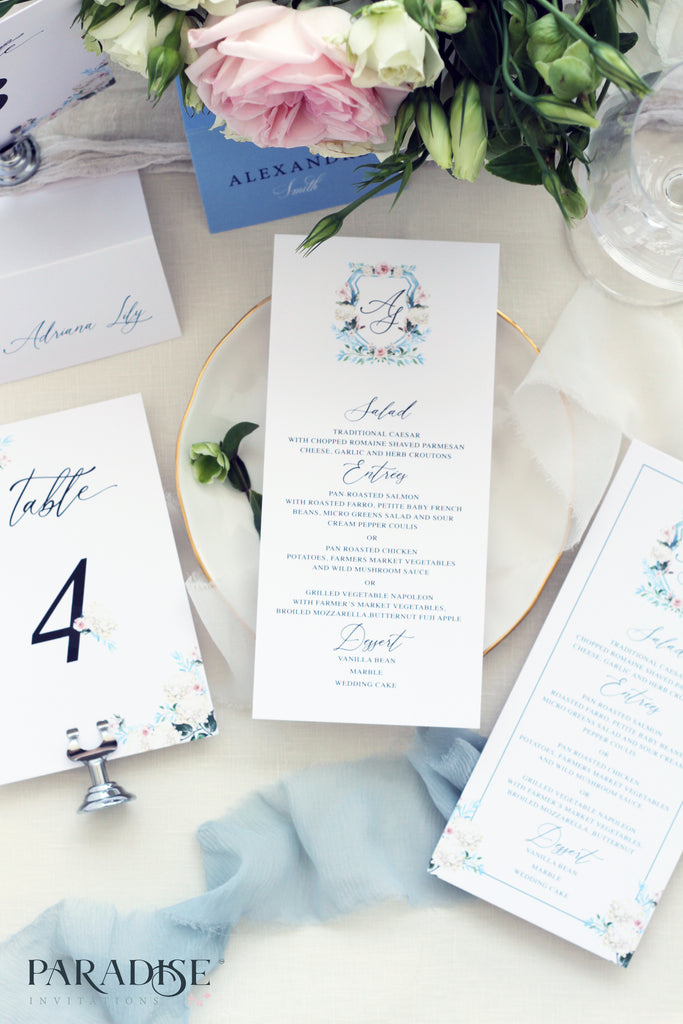 Alissandre Watercolor Monogram Wedding Menu