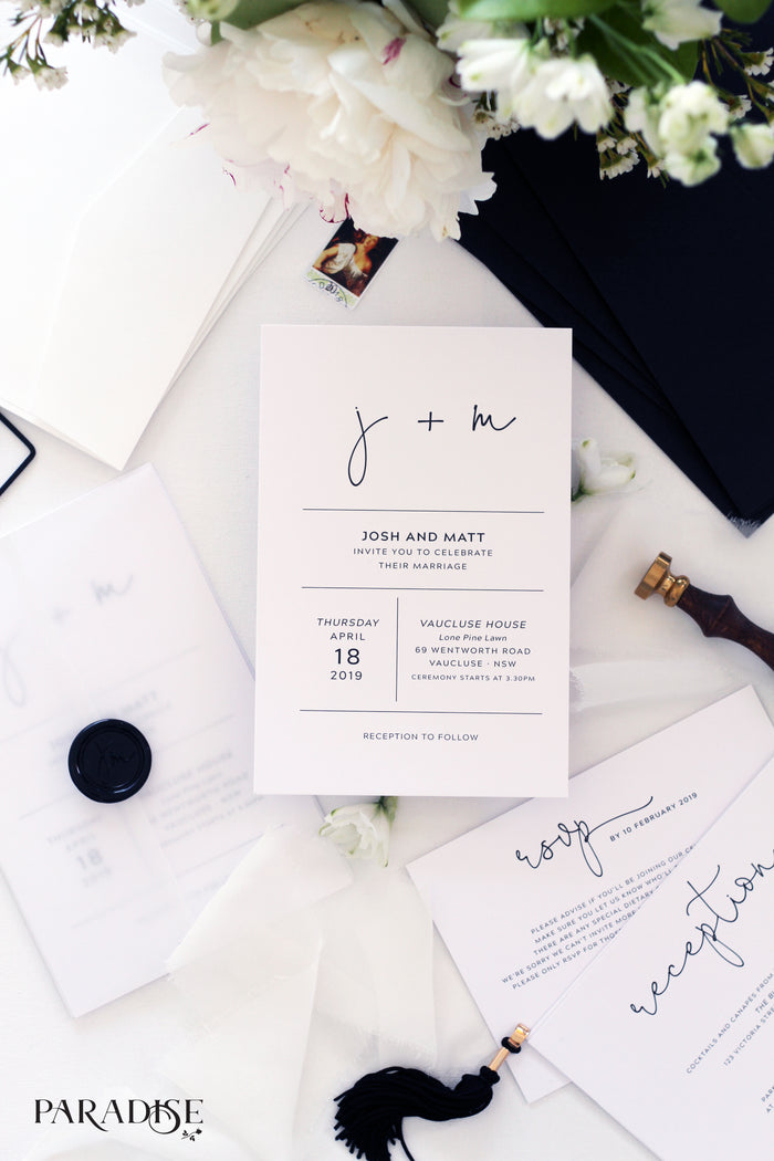 Amaury Modern Wedding Invitation Sets