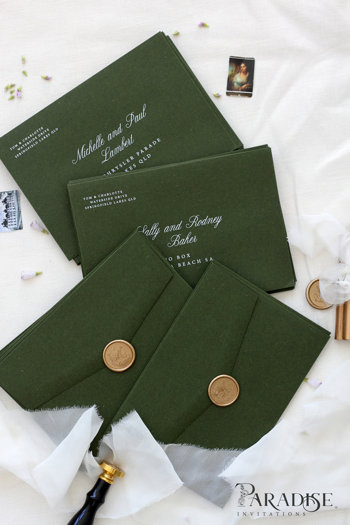Forest Green Envelopes White Ink Printing