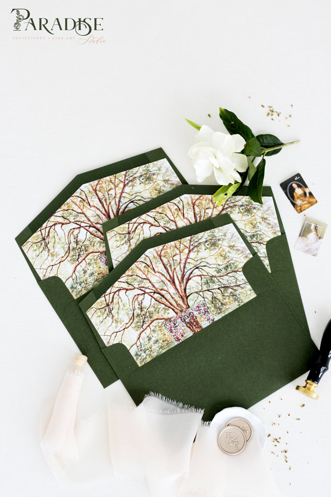 Forest Green Envelopes Watercolor Tree Envelope Liners