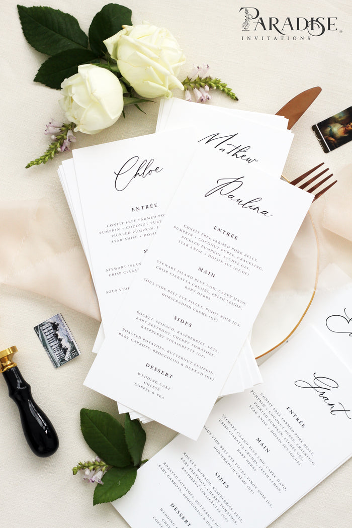 Nathaly Elegant Wedding Menus