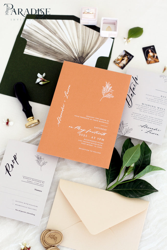 Larissa Terracotta Wedding Invitation Sets