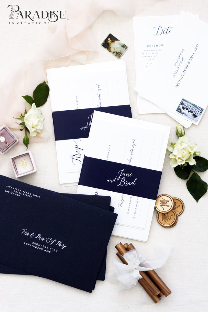 Andree Navy Wedding Invitations