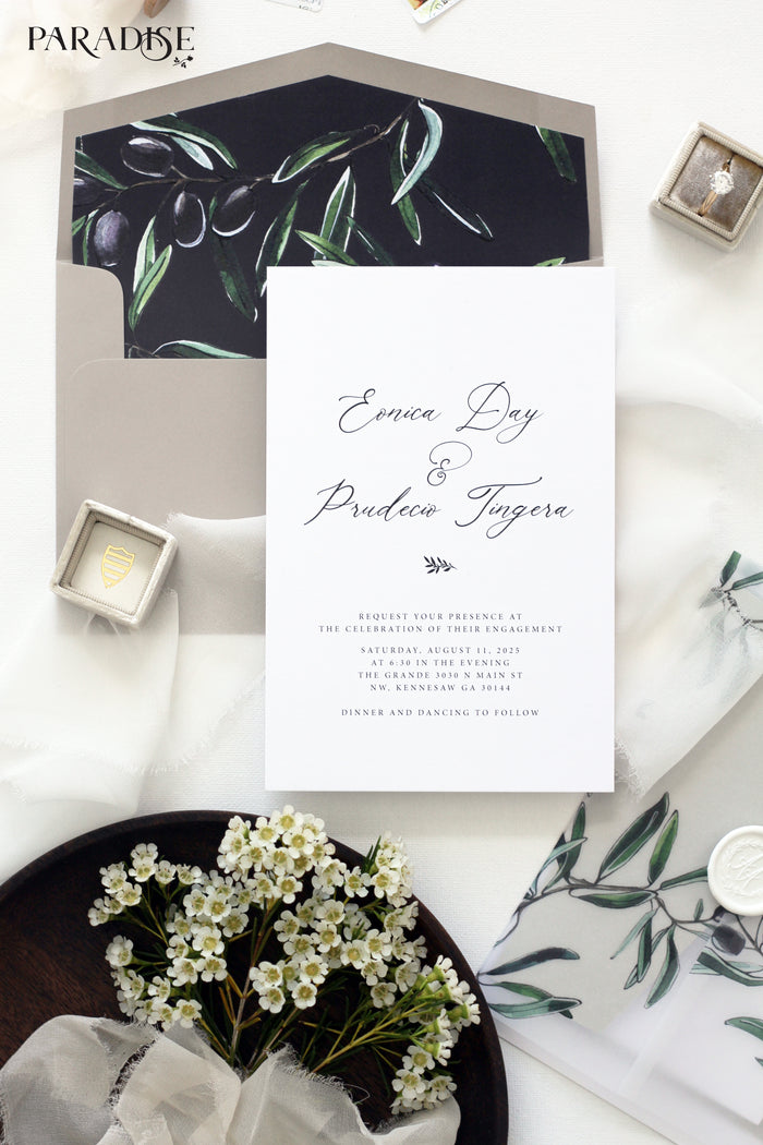 Oliphie Olive Branch Engagement Invitation
