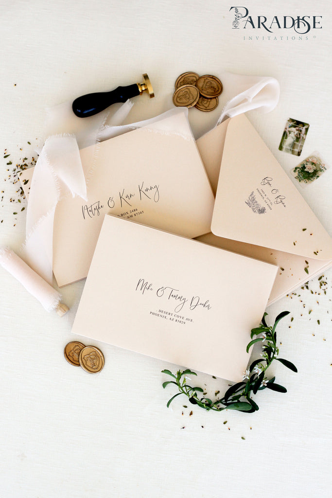 Buttermilk Envelopes with black ink printing