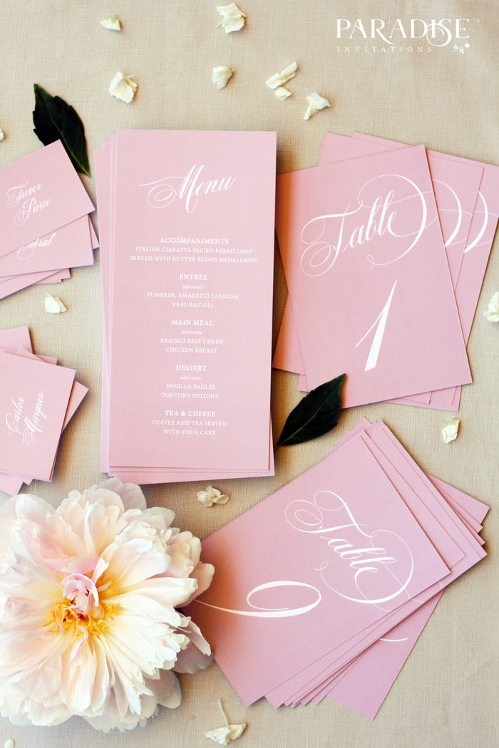 Schannel Dusty Pink Wedding Menus