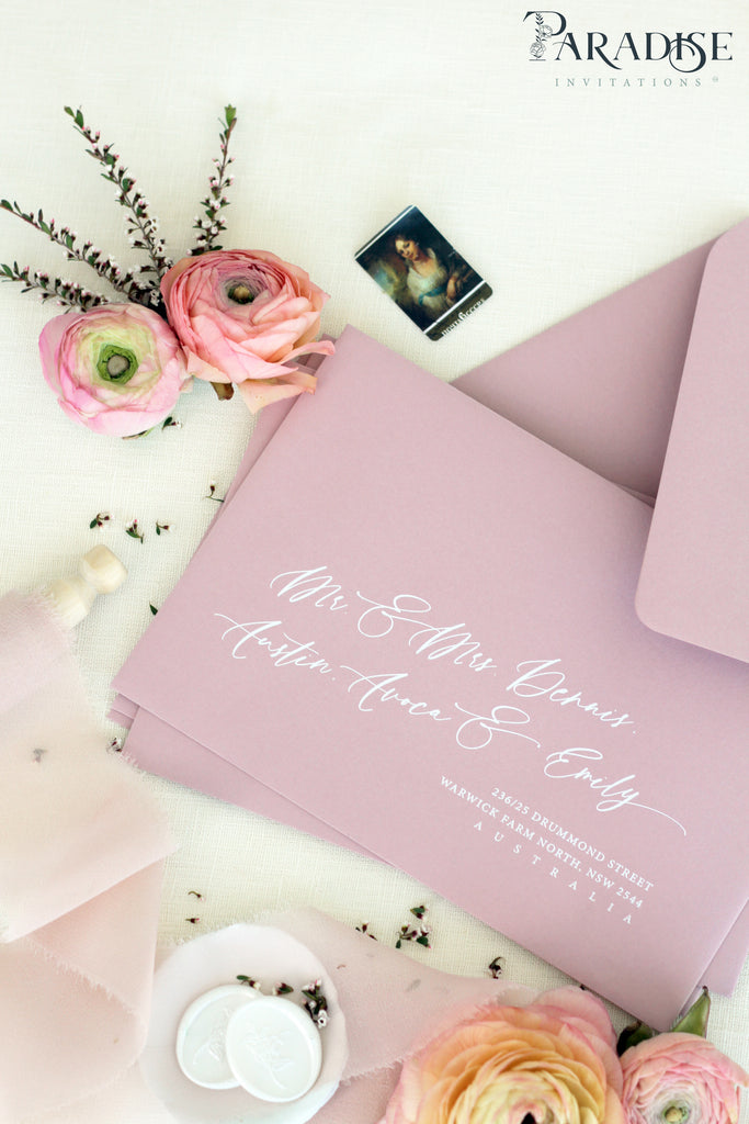 Wild Rose Envelopes White Ink Printing