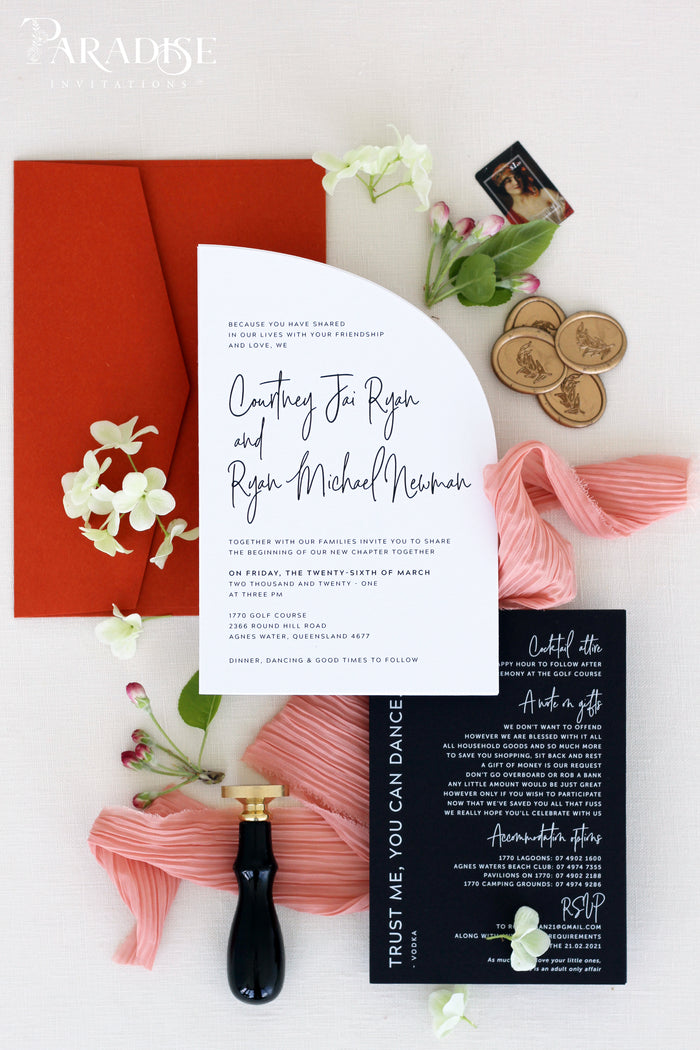 Hermione Arch Wedding Invitation Sets, Rust Envelopes