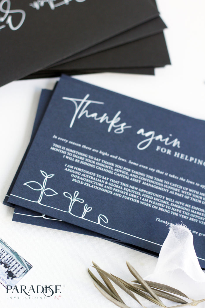 Camille Navy Blue Thank You Card