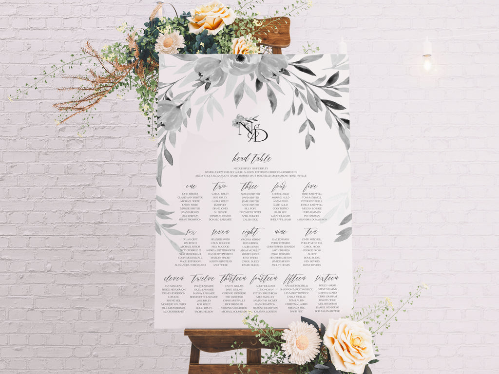 Table Seating chart, Printable Seating Charts, type: Wedding Stationery