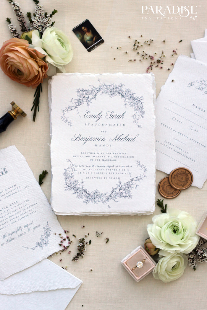 Nanette Handmade Paper Wedding Invitation