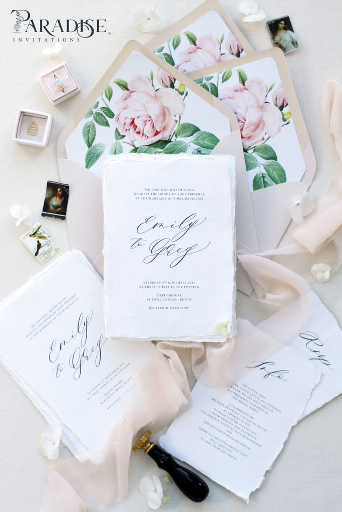 Clarice Handmade Paper Wedding Invitation Sets