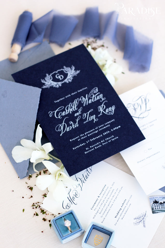 Lyla Navy Wedding Invitation Sets