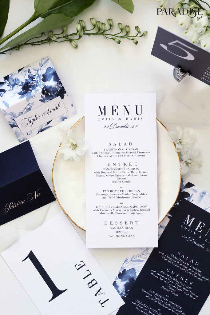 Aliette White Wedding Menu