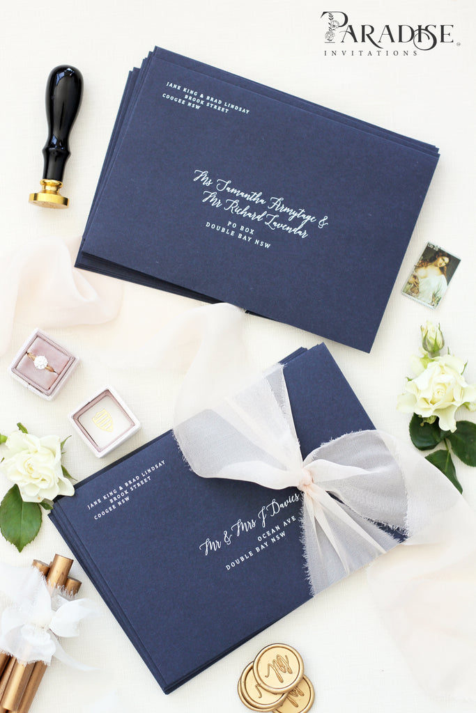 Navy Blue Envelopes White Ink Printing