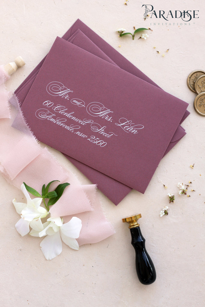 White Ink Printing on Deep Rose Envelopes