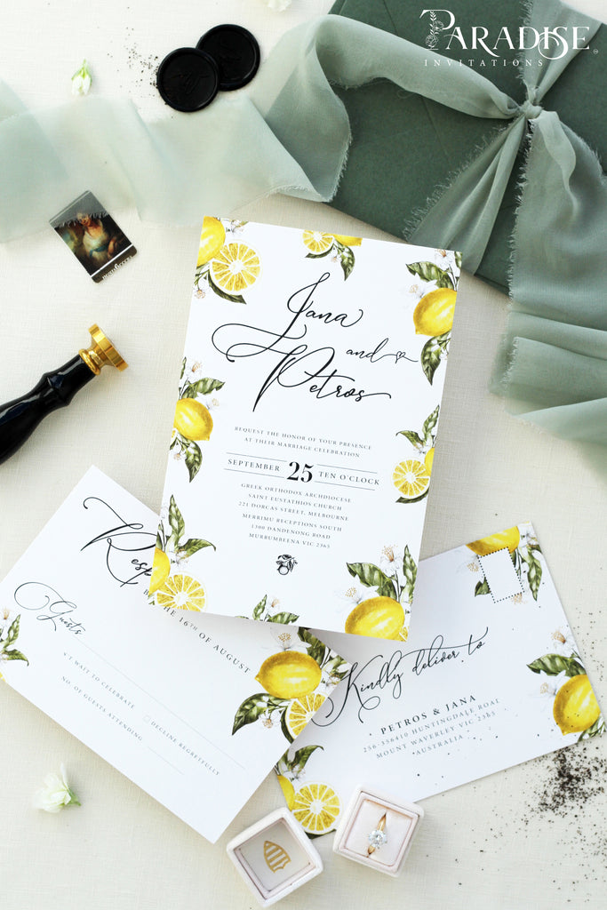 Louisa Watercolor Lemons Wedding Invitation Sets