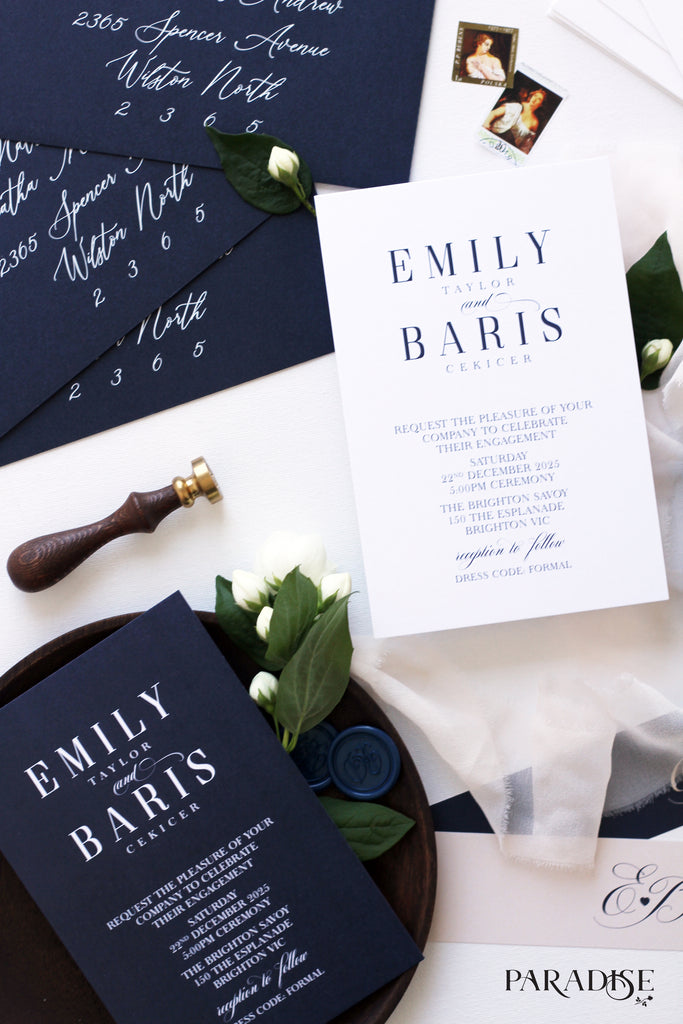 Aliette Navy and Blush Engagement Invitation