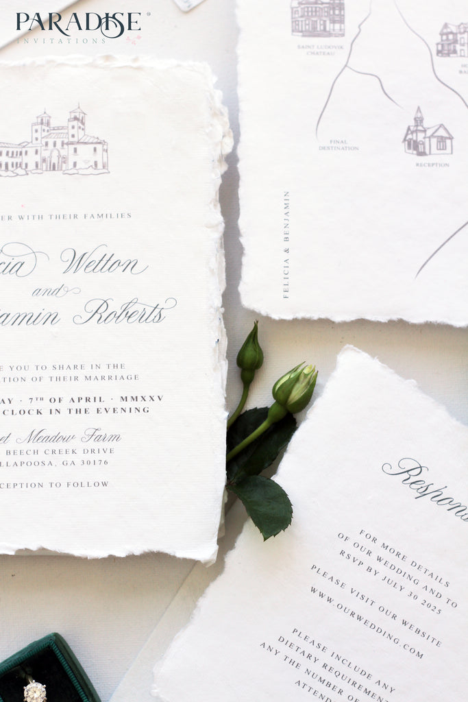 Ancelin Handmade Paper Wedding Invitation