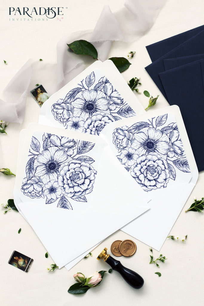 Navy Blue Floral Envelope Liners
