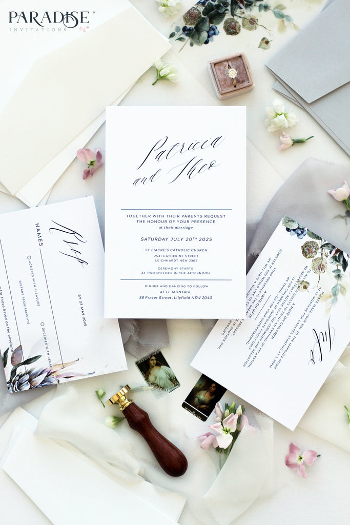Aime 2 Protea Floral Wedding Invitation
