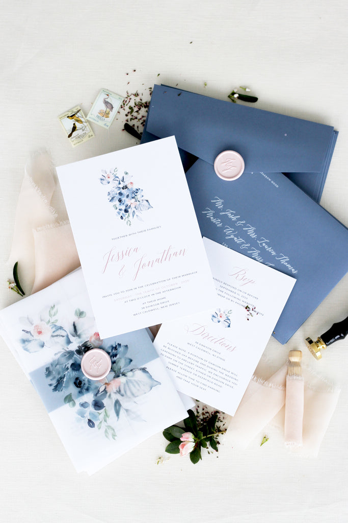 Ether Dusty Blue Wedding Invitation