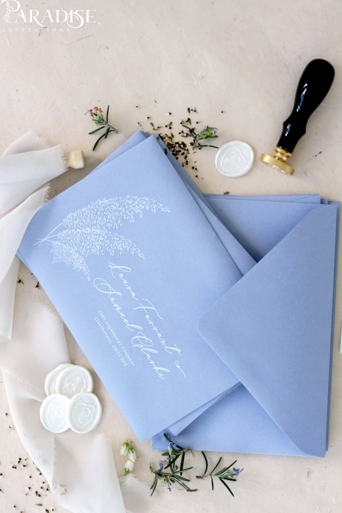 Dusky Blue Envelopes White Ink Printing