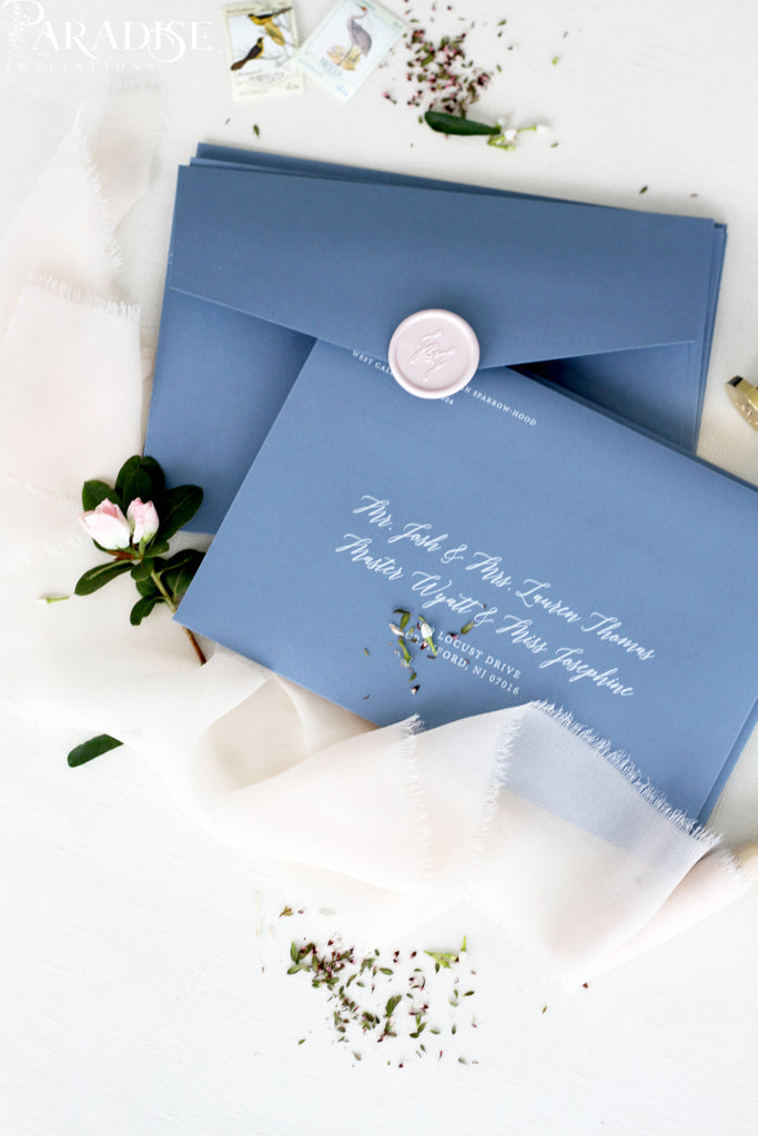 Dusty Blue Envelopes and White ink Printing