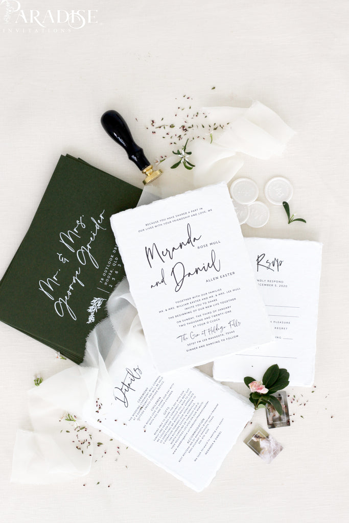 Bijou Handmade Paper Wedding Invitation Sets
