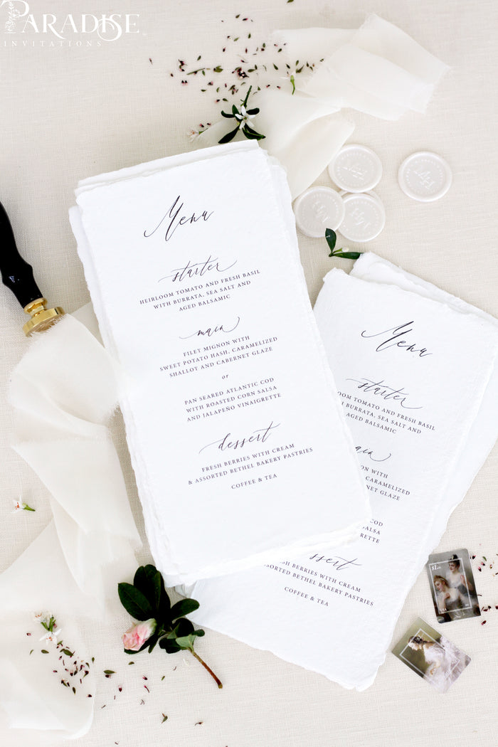 Aria Handmade Wedding Menus