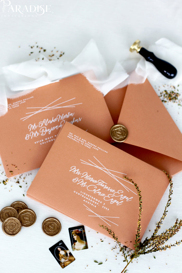 Terracotta Envelopes and White ink Printing