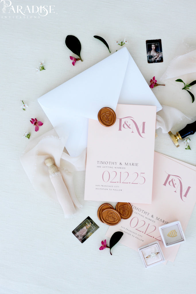 Lilian Soft Apricot Save the Date Cards
