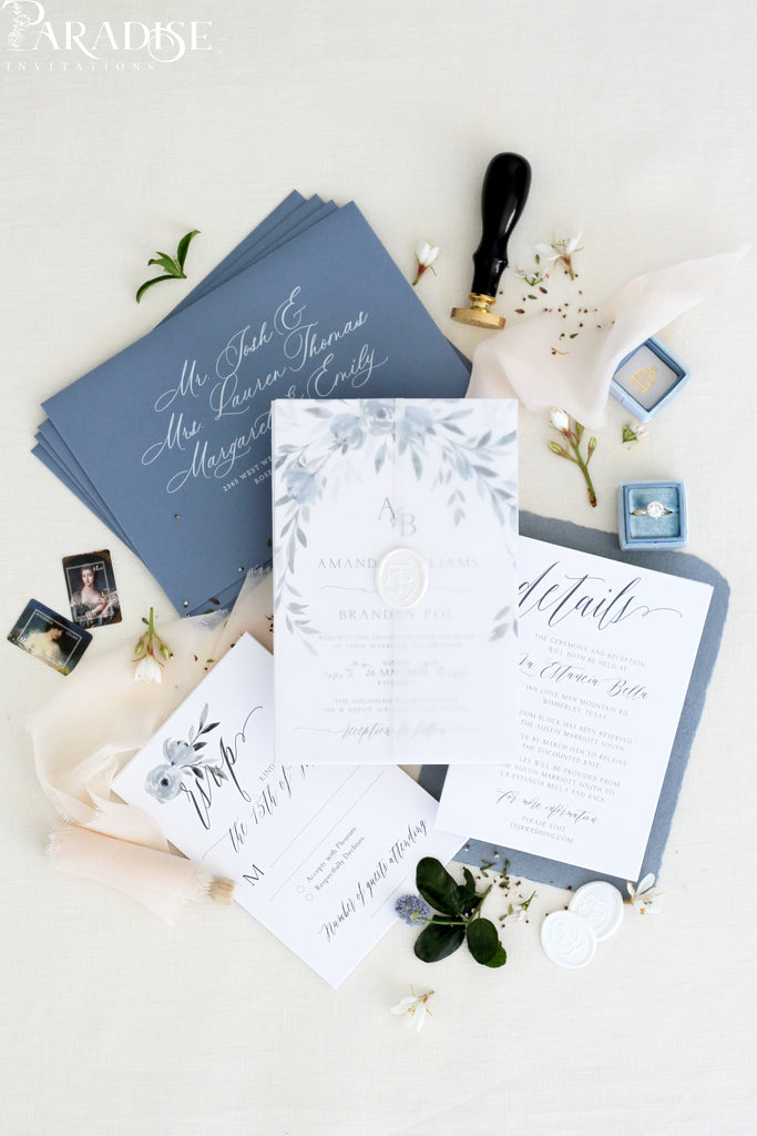 Skyla Dusty Blue Wedding Invitations