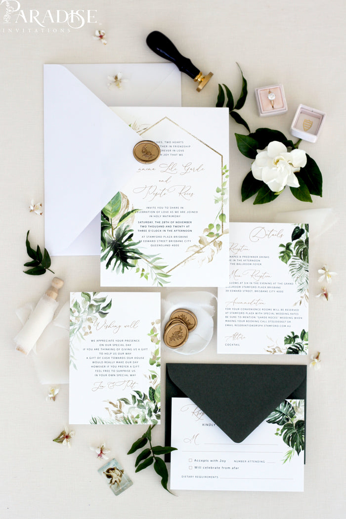 Priscilla Greenery Wedding Invitation Set