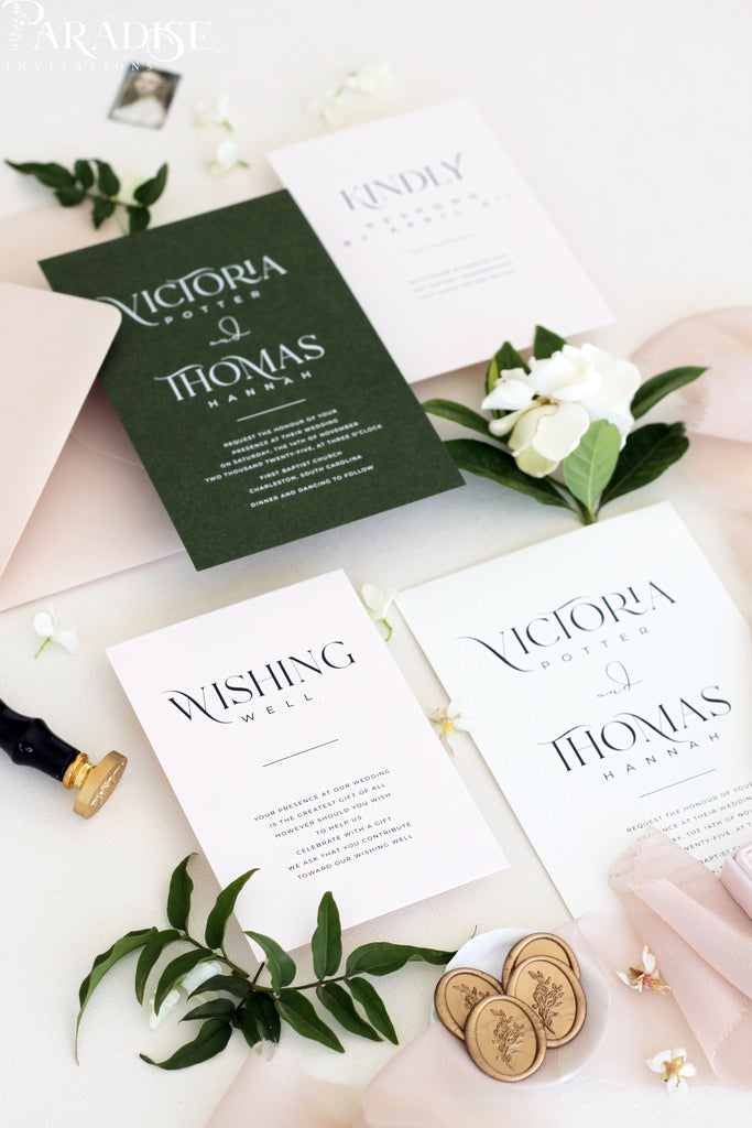 Safiya Forest Green Wedding Invitation Sets