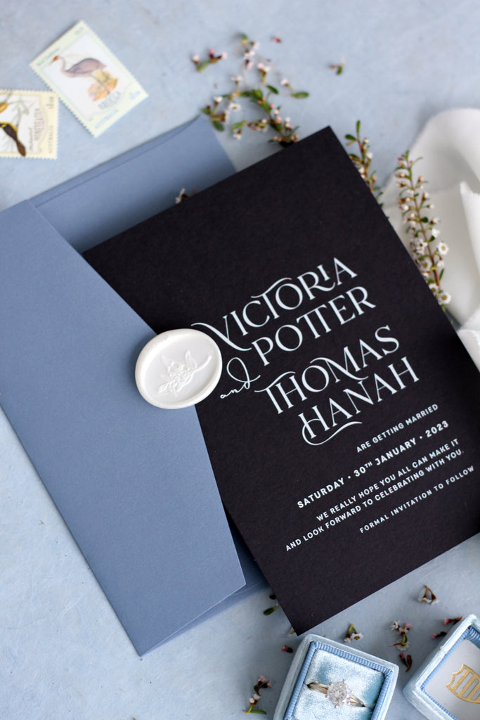 Elena Black Paper and Dusty Blue Envelopes Save the Date Cards