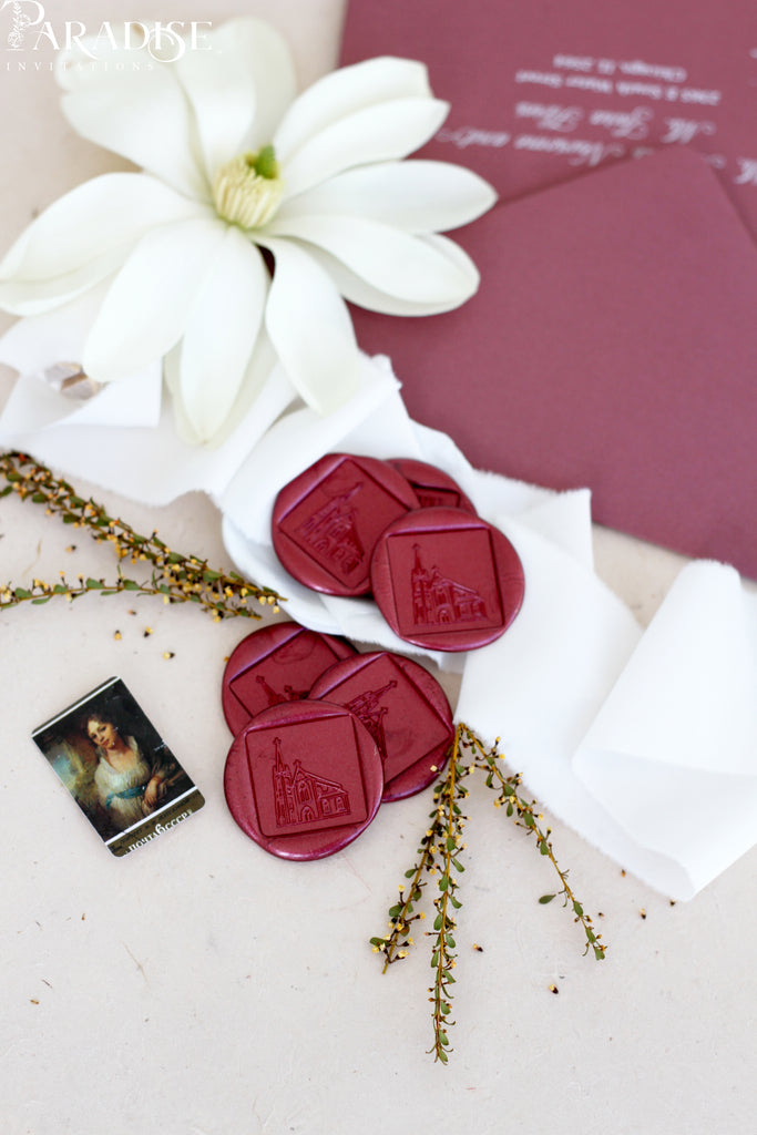 Burgundy Square Wax Seals