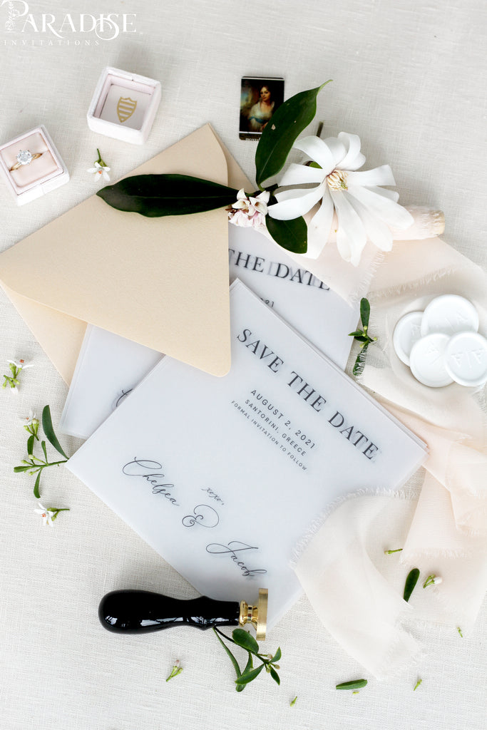 Aria Vellum Save the Date Cards