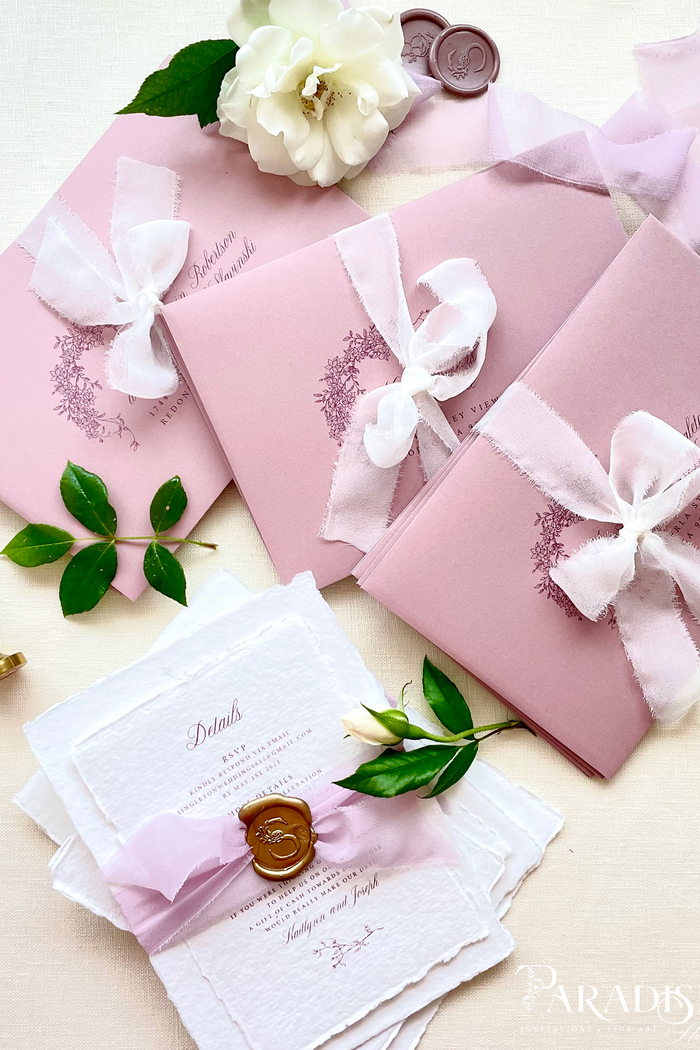 Kaitlynn Handmade Paper Wedding Invitation Sets