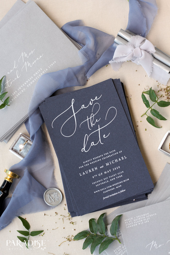 Lauren Navy Paper Save the Date Cards