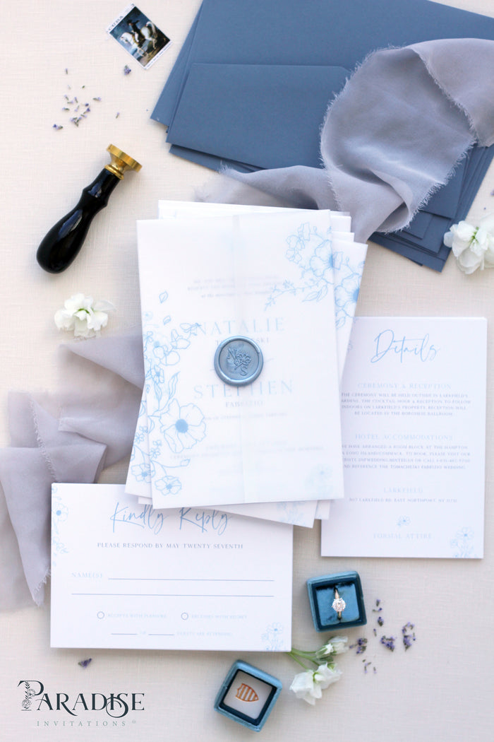 Aurore Dusty Blue Wedding Invitation Sets